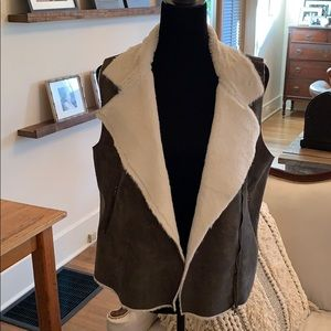 Naked Zebra suede vest with faux fur lining